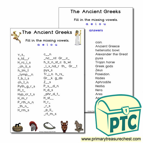 Ancient Greeks Themed Vowels Worksheet Primary Treasure Chest – Alexander the Great Worksheet