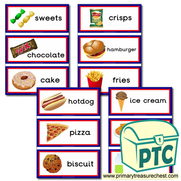 Unhealthy Food Themed Flashcards on Seasons And Months Worksheet