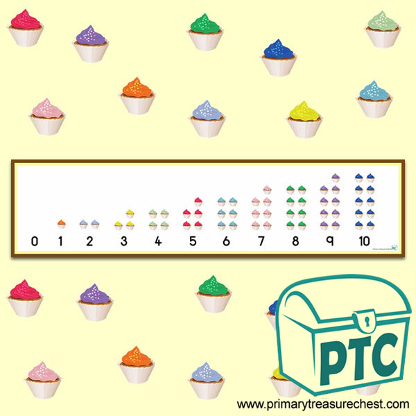 Maths Coloured Cupcakes Number Line 0-10