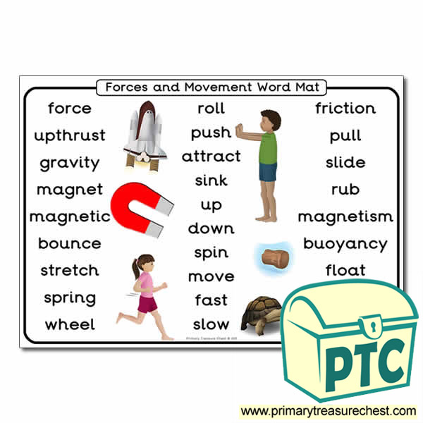 Forces And Movement Themed Word Mat Primary Treasure Chest