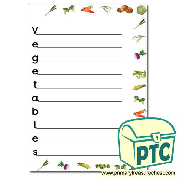 Vegetables Acrostic Poem Worksheet Primary Treasure Chest – Acrostic Poem Worksheet
