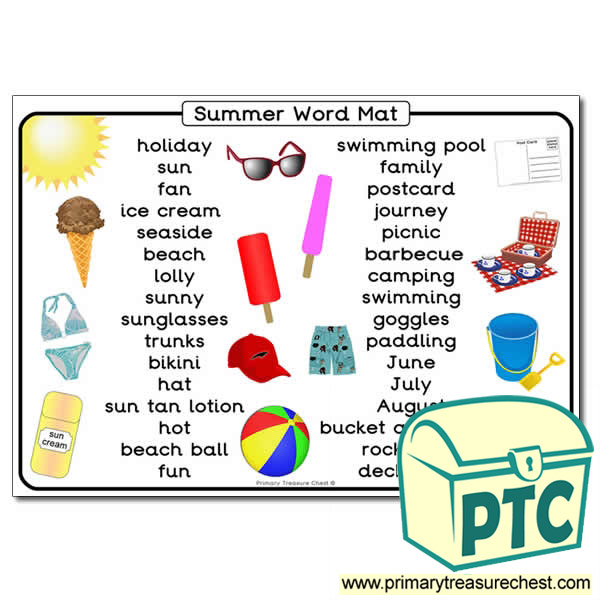 Summer Themed Word Mat - Primary Treasure Chest