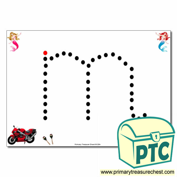 m lowercase letter formation activity join the dots