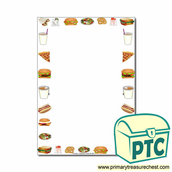 fast food takeaway themed page border writing frame no lines