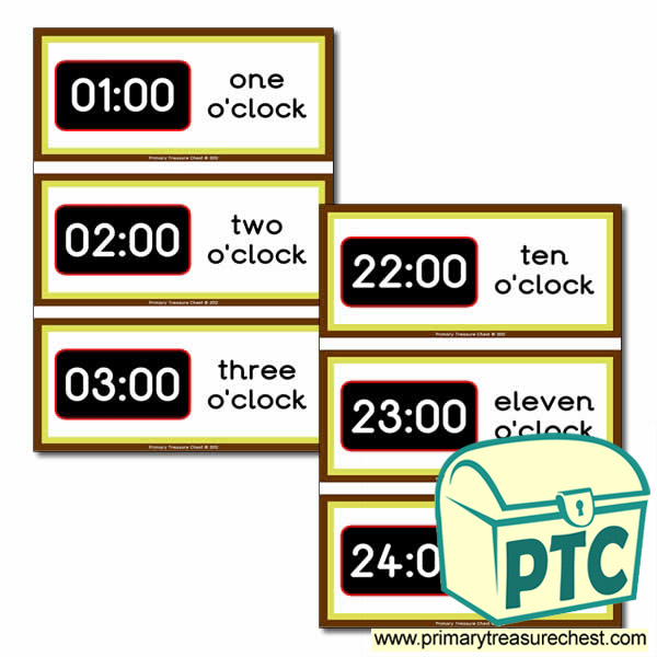 Time Themed Flashcards 24hr Clock Primary Treasure Chest