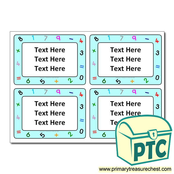 Maths Themed Pupil / Work Book Labels - Primary Treasure Chest