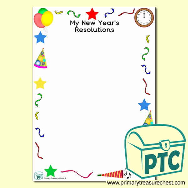 My New Year\'s Resolutions\' Writing Frame with Images (No Lines ...