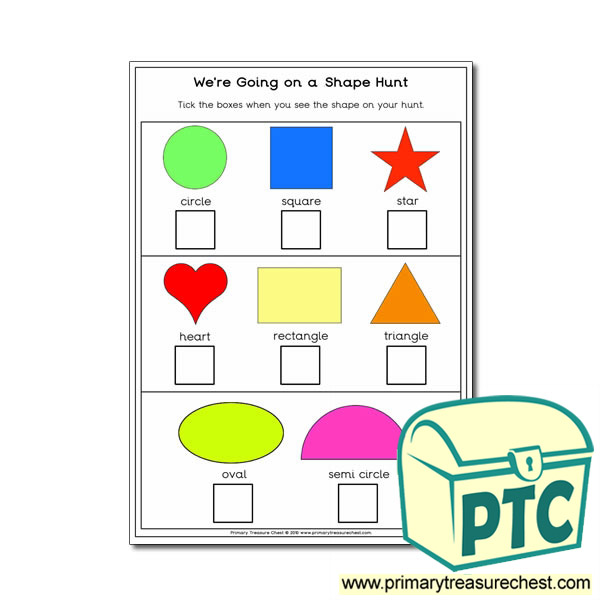 Shape Hunt Activity - Primary Treasure Chest