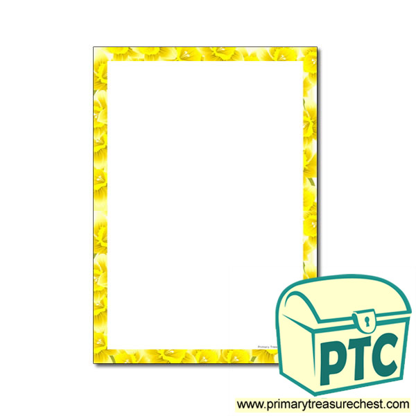 Classroom Ideas For Mothers Day ~ Daffodil page border with no lines primary treasure chest