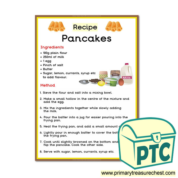Pancake recipe poster primary treasure chest pancake recipe poster ccuart Images
