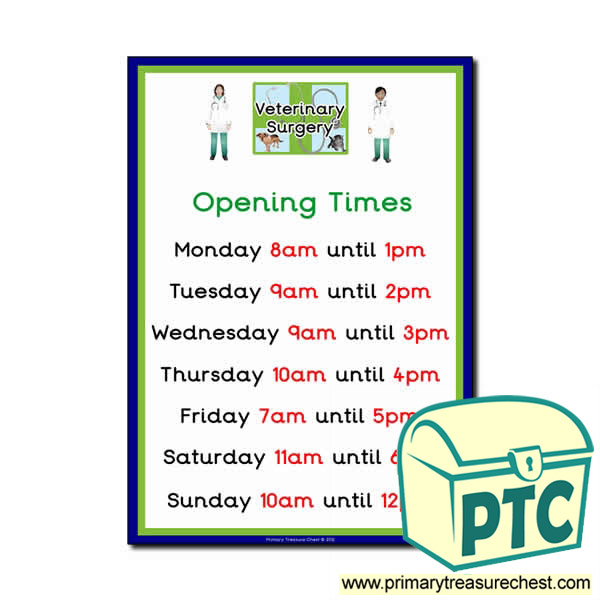 Vets Role Play Opening Times Poster O Clock Primary
