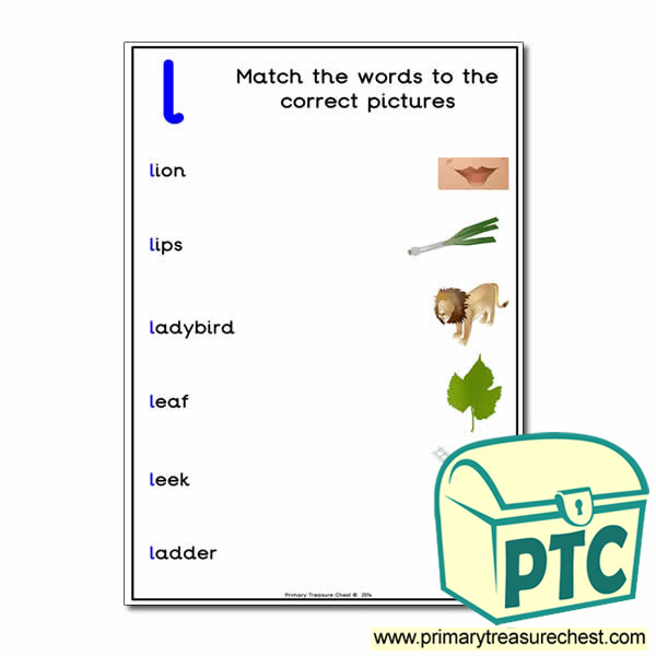 Letter 'L' Matching Words To The Pictures Activity Sheet