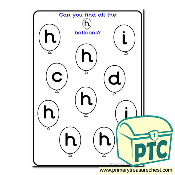 letter h balloon activity sheet