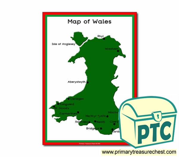 Map Of Wales Poster Primary Treasure Chest