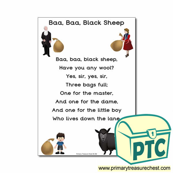 Baa Black Sheep Nursery Rhyme Poster