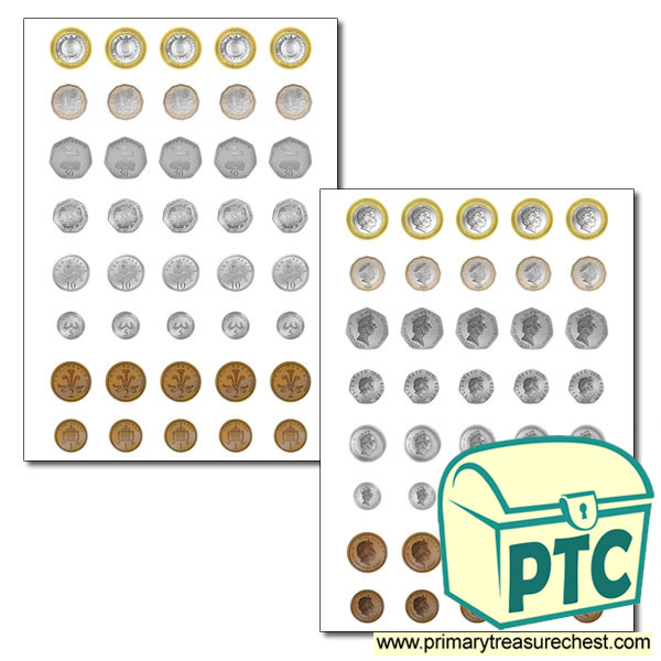 Toy Money Cut Outs : British coins front and back for role play area