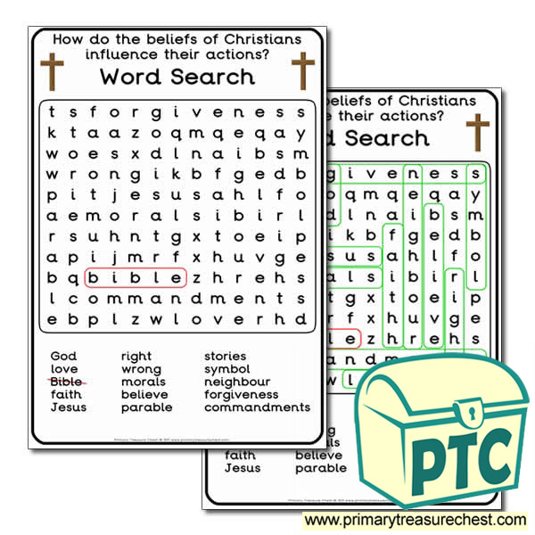 christianity themed word search worksheet primary treasure chest. Black Bedroom Furniture Sets. Home Design Ideas
