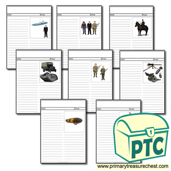 World War One Themed Newspaper Worksheets Primary
