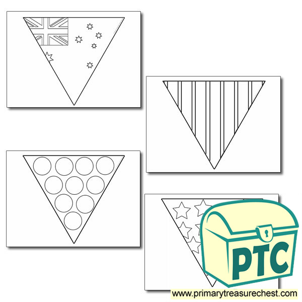 Australian Flag Bunting Colouring Sheet  Primary Treasure Chest