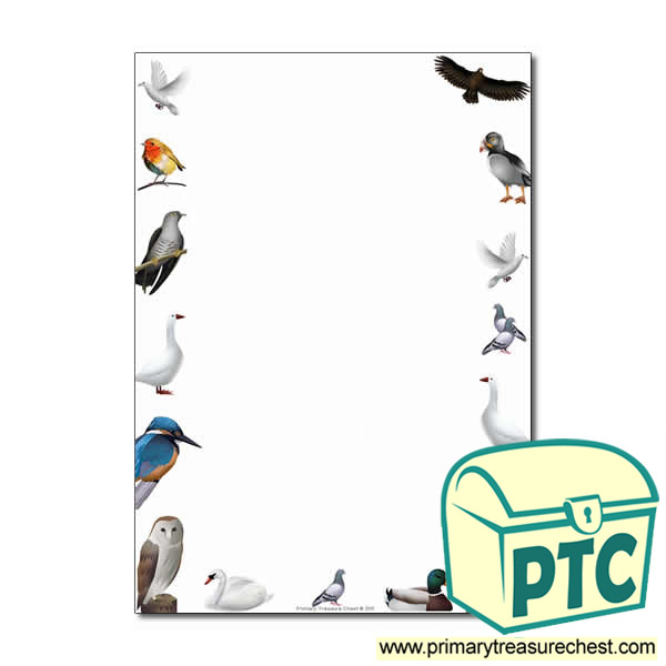 Birds Found In Britain Themed Page Border Writing Frame