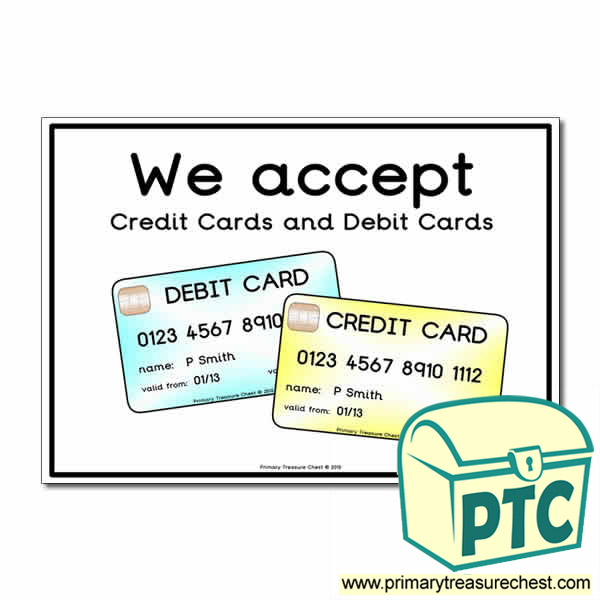 Role Play Credit Cards Debit Cards Poster