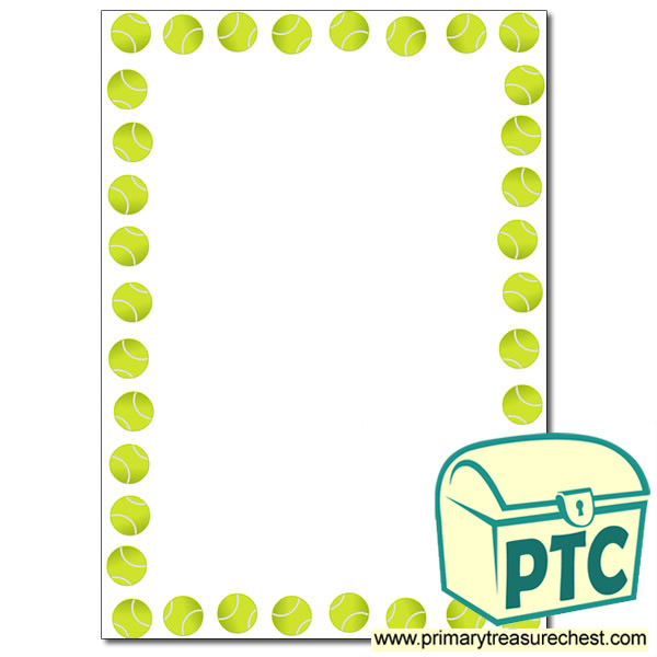Tennis Themed Page Border Writing Frame No Lines