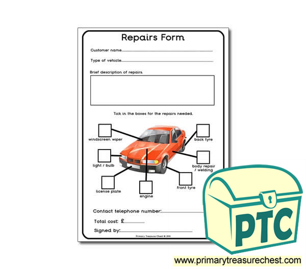 Mechanics Garage Role Play Repair Form Worksheet Primary