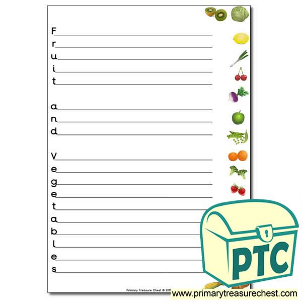 Fruit and Vegetables Acrostic Poem Worksheet Primary Treasure Chest – Acrostic Poem Worksheet