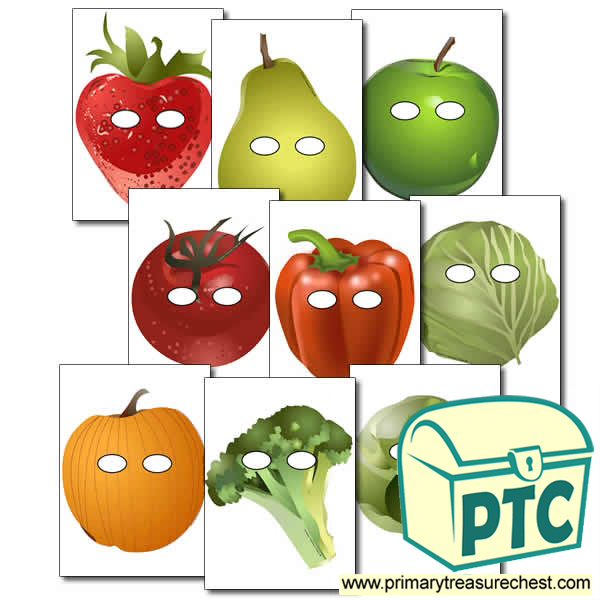 Fruit And Vegetable Role Play Masks Primary Treasure Chest
